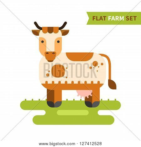 Flat cow colorful vector illustration. Isolated cow logo for your design in flat style. Cute cow grazing on green lawn. Part of flat farm set.