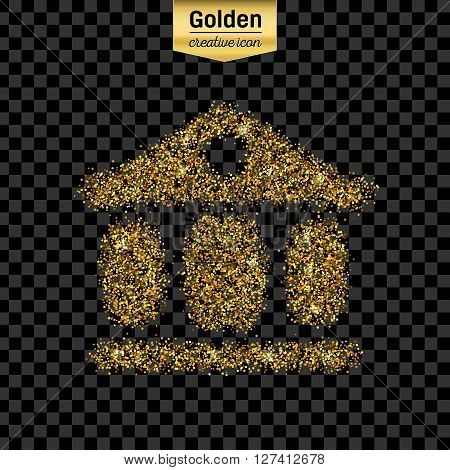 Gold glitter vector icon of exchange building isolated on background. Art creative concept illustration for web,