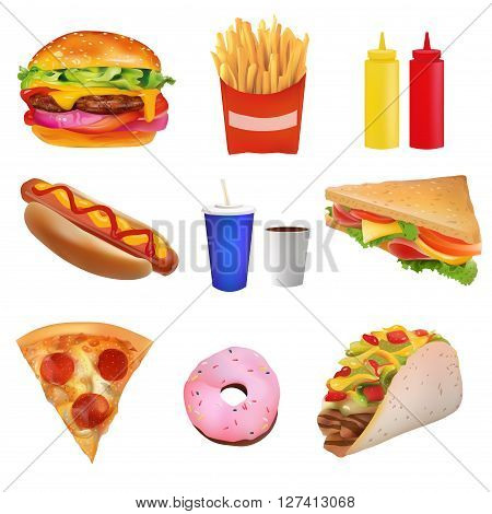 Vector Realistic fast Food Set. Burger PizzaTaco Beverage Coffee French Fries Hot Dog Sandwich Donut Ketchup Mustard. Isolated On White background