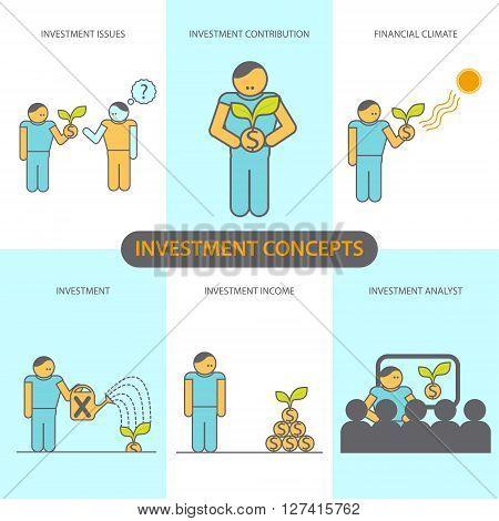 Modern Flat line design concept of Financial Investment Investment Issues Financial climate investment contribution investment income Investment analyst. Vector EPS10