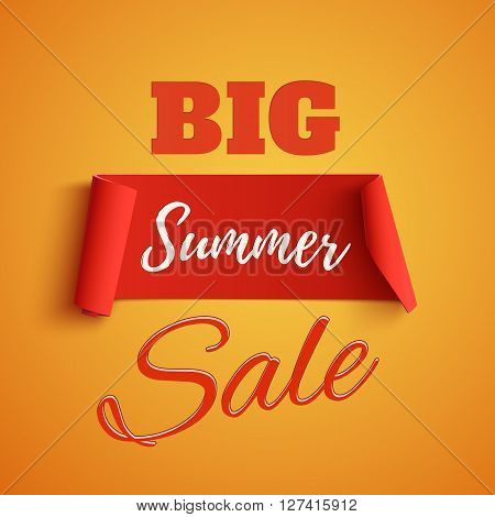 Big summer sale poster on orange background. Summer sale banner. Summer sale ribbon. Vector illustration.