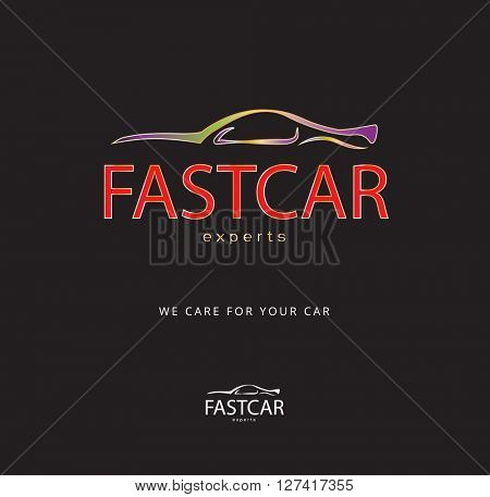 colorful , luxury icon / logo of a car