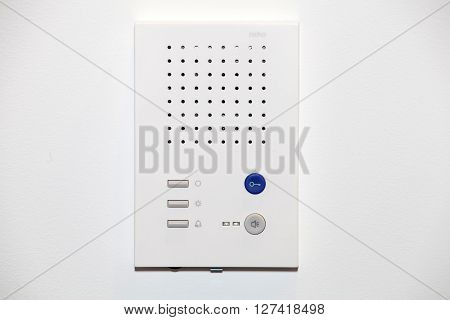 White inner audiopanel for outdoor installation. Intercom system