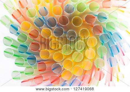 Closeup of striped drinking straws isolated on white