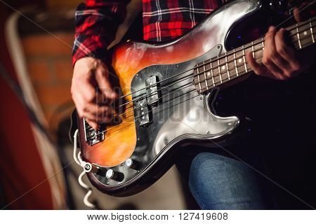 Rock Music Background, Bass Guitar Player