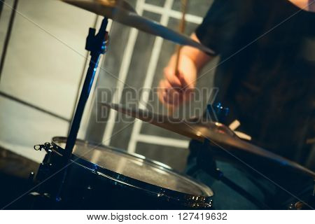 Rock Music Blurred Background, Drummer