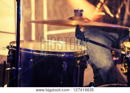 Blurred Photo Background, Drummer On A Stage