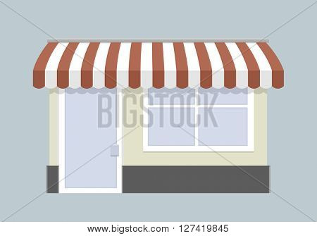minimalist illustration of a small store front, eps10 vector