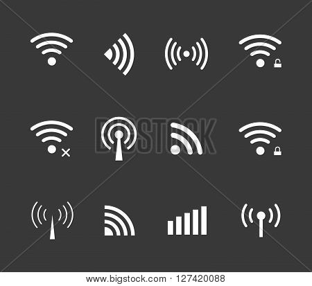 Vector wireless and wifi icon for remote access and communication via radio waves. remote access icon. Wireless label. Wi-Fi icon Wi-Fi pictograph Wi-Fi web icon Wi-Fi icon vector
