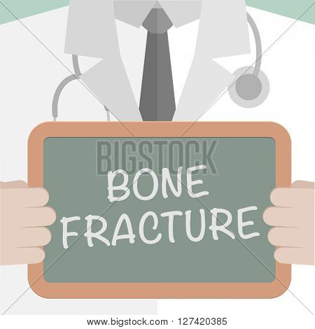 minimalist illustration of a doctor holding a blackboard with Bone Fracture text, eps10 vector