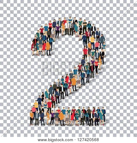 People in the form of number . Transparency grid . 3D  illustration .Vector illustration.