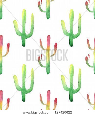 Watercolor hand drawn cactus succulent seamless pattern. White background. Beautiful cute succulents. Ideal for sites, fliers, flyers, brochures, wedding invitation, card, banners etc.