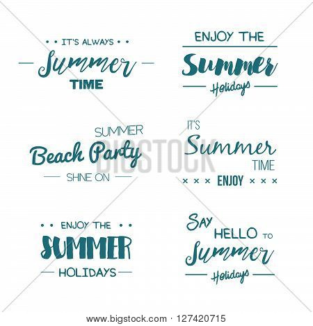 Summer Time Logo Templates. Vector Typographic Design Label. Summer Holidays Lettering. Summer Party