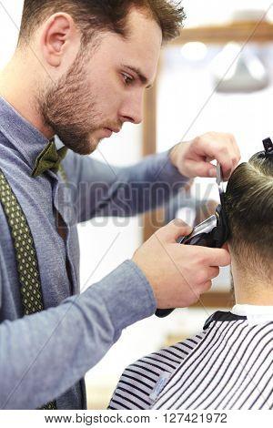 Barber working