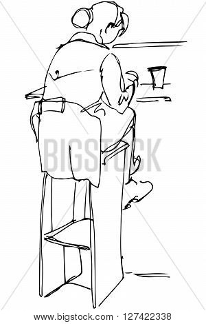 black and white vector sketch of a single woman drinking coffee at the bar on a stool