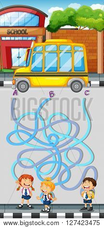 Maze game with students and school bus illustration
