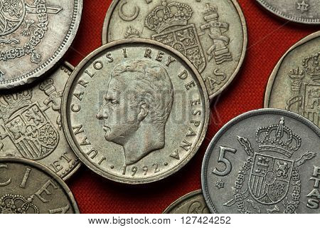 Coins of Spain. King Juan Carlos I of Spain depicted in the Spanish 100 peseta coin (1992).