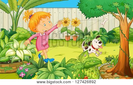 Girl playing with dog in the garden illustration