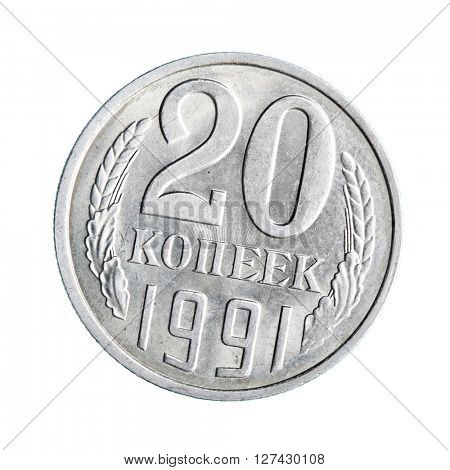 Old soviet coin (twenty copecks) isolated over white background