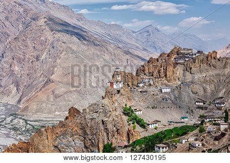 Dhankar gompa Buddhist monastery on cliff and Dhankar village in Himalayas, Dhankar, Spiti valley, Himachal Pradesh, India