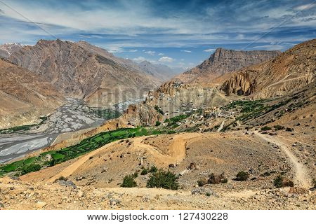 View of Spiti valley, Spiti river and Dhankar village and Dhankar gompa in Himalayas. Spiti valley, Himachal Pradesh, India