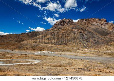 Manali-Leh trans Himalayan road to Ladakh in Indian Himalayas. Ladakh, India