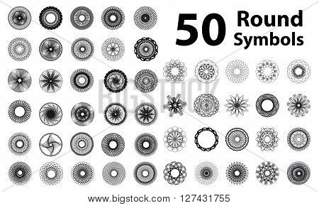 Set of spirograph elements. Vector spirographs. Round symbols set.