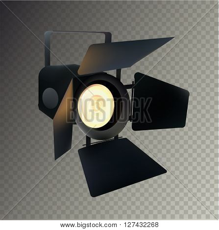 Realistic Transparent Spotlight for Show and Scene. Isolated Vector Illustration