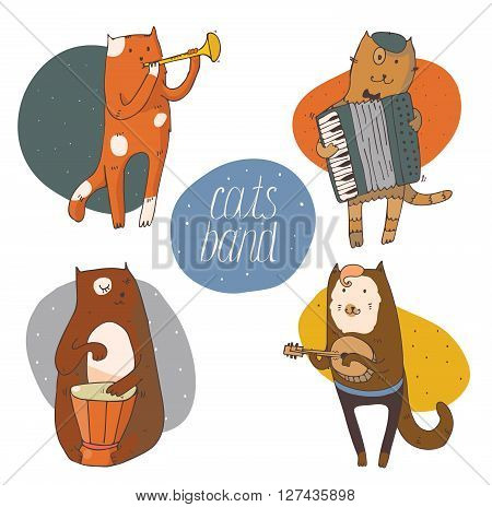 Set of fun cats playing musical instruments - drum accordion tube guitar isolated on white vector hand drawn illustration kind colored with smiling cat faces and circle background on back.