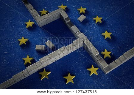 The Europe erect walls on the border conceptual image 3D illustration
