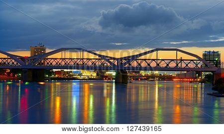 Bridge over the Neckar River, the city of Mannheim, Germany