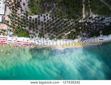 Top view of Muro Alto beach in Porto de Galinhas, Pernambuco, Brazil