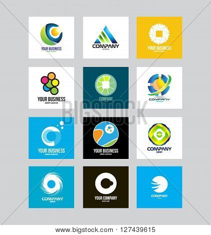 Vector company logo icon element template business corporate set