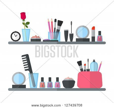 Make up cosmetic accessories: mascara, concealer, lip gloss and lipstick, nail polishes, brushes, mirrow.  illustration for promotional booklets, brochures, banner, leaflets. Flat design