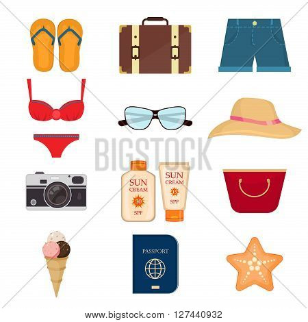 Collection of summer icons in flat design vector. Set of realistic summer icons and objects. Summer travel icons and vacation summer icons. Tourism summer icons. Beach season summer icons.