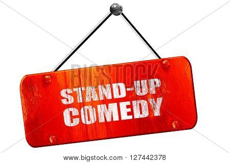 stand-up comedy, 3D rendering, red grunge vintage sign