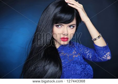Long Black Hair. Beautiful Model Girl With Healthy Straight Shiny Hair And Sensual Lips Isolated On