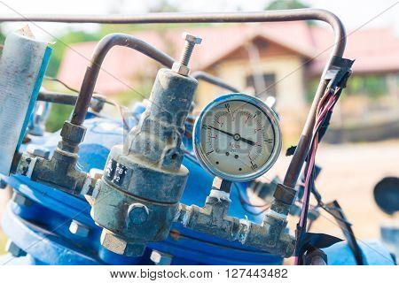 Pressure Gauge in Water Processing Plant. Pressure control
