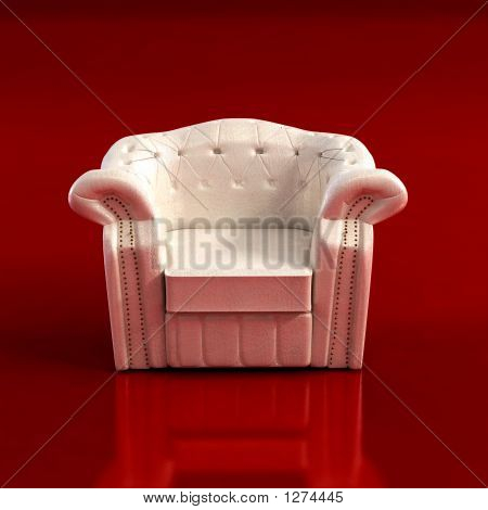 classic armchair 3d computer rendering on ren background poster