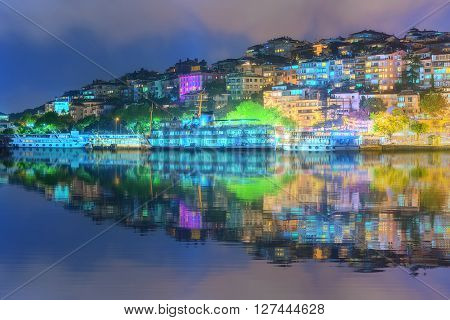 Panorama of Istanbul and Bosporus at night, Turkey