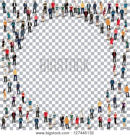 Isometric set of styles, circle , web infographics concept  illustration of a crowded square, flat 3d. Crowd point group forming a predetermined shape. Creative people. - Vector Illustration. Stock vector.3D illustration.Transparency grid .