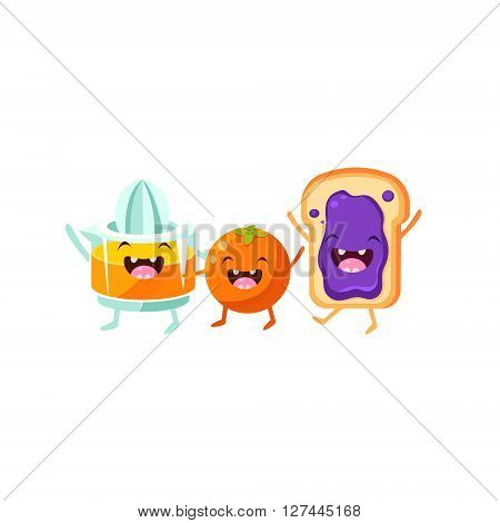Orange, Squeezer And Toast Cartoon Friends Colorful Funny Flat Vector Isolated Illustration On White Background