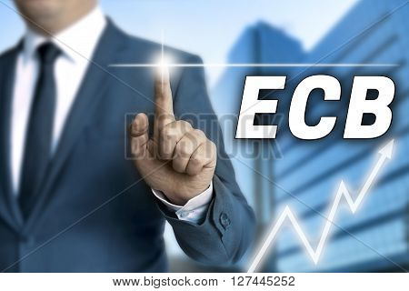 ecb touchscreen is operated by businessman background