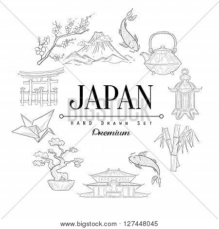 Japan Vintage Vector Hand Drawn Design Card