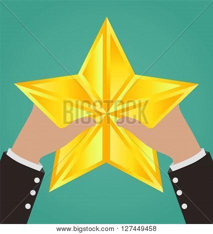 Businessman Hands Catching Gold Star, Success Concept