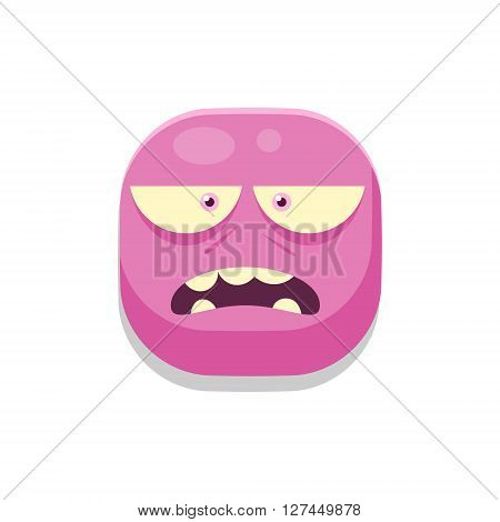 Sceptic Monster Square Icon Isolated On White Background In Fun Childish Emoji Style Vector Design