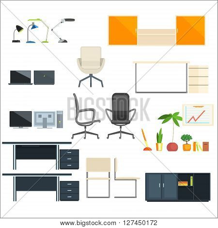 Office Furniture And Objects Flat Isolated Elements Collection In Primitive Style On White Background