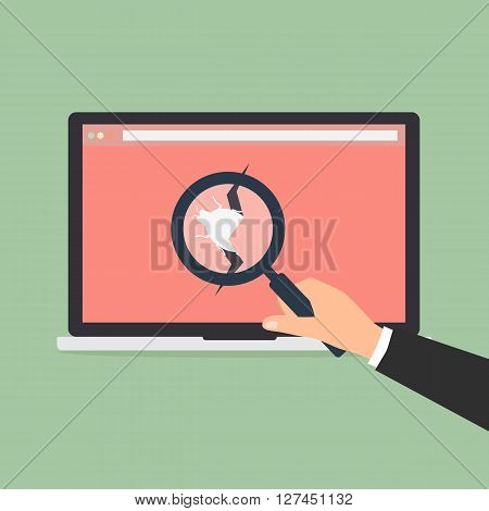 Businessman hold a magnifying glass found bug and virus computer from website. Vector illustration flat design technology data privacy and security concept.