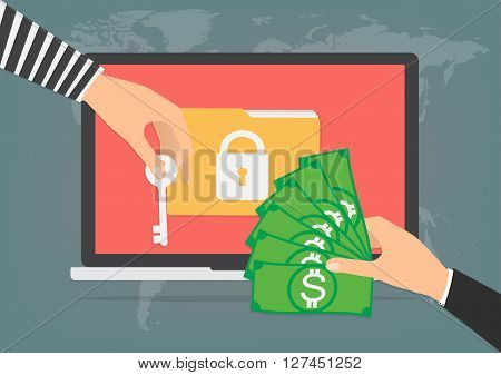 Businessman hand holding money banknote for paying the key from hacker for unlock folder got ransomware malware virus computer. Vector illustration technology data privacy and security concept.