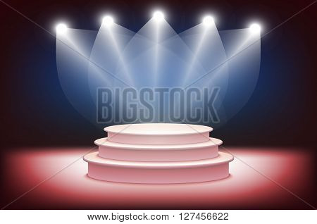 3D Illustration Of Photorealistic  Podium Stage With Blue Stage Lights Background. Used For Product